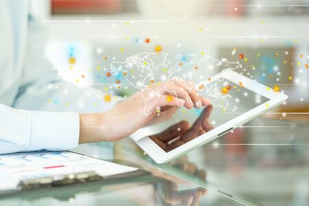 network people: Tablet. Stock Photo