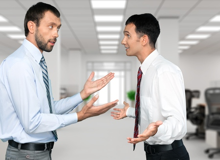 man at work: Arguing.