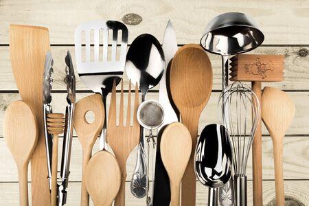 keuken: Werktuig van de keuken. Stockfoto
