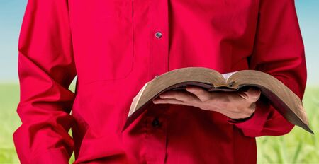person reading: Bible. Stock Photo