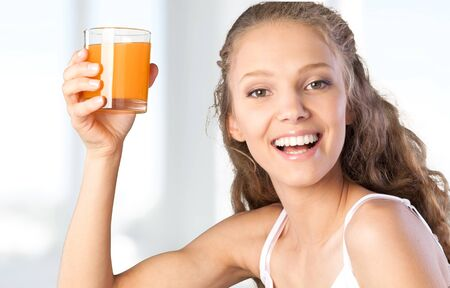 woman young: Juice. Stock Photo