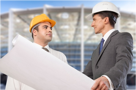 and white collar workers: Construction. Stock Photo