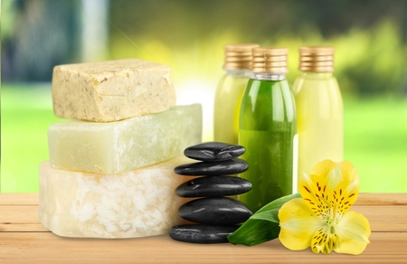 grooming product: Bar Of Soap. Stock Photo