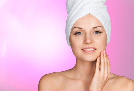aging face: Microdermabrasion. Stock Photo