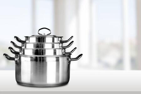 stainless steel background: Pan. Stock Photo