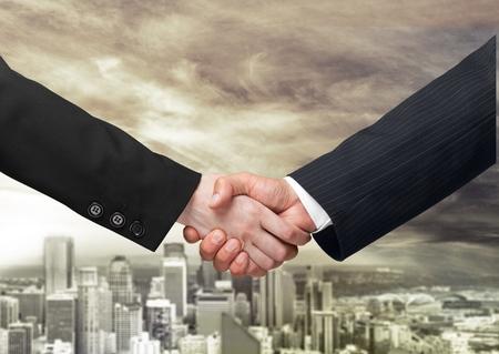 clasped hand: Handshake. Stock Photo