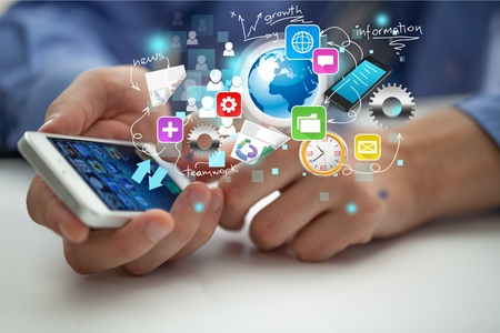 electronic organizer: Mobile Phone. Stock Photo