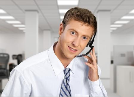 business man phone: Call Center.