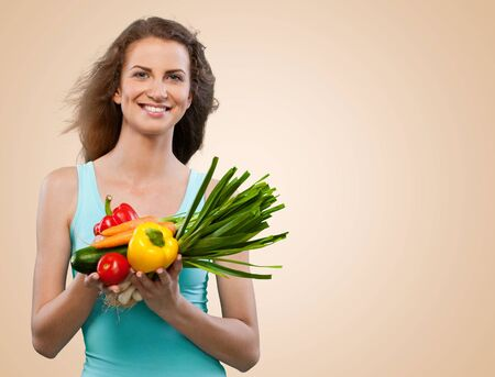 comidas saludables: Mujer. Foto de archivo