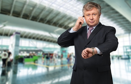 new business problems: man showing the busy gesture  Stock Photo