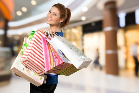 woman bag: woman with shopping bag for Shopping concept. Stock Photo