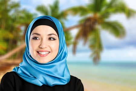 young woman smiling: Arab woman