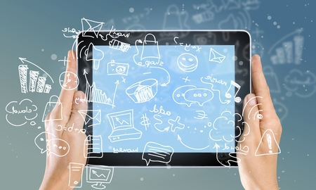 visual screen: Tablet. Stock Photo