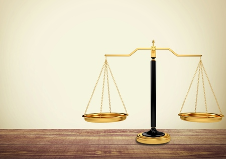 antique weight scale: Scales of Justice. Stock Photo