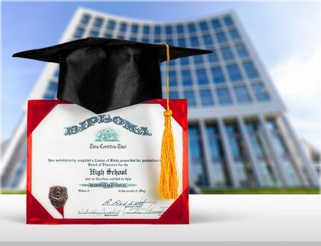 mortar board: Diploma.
