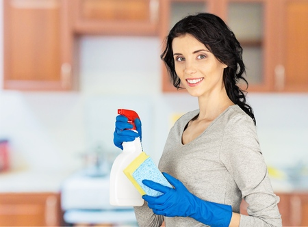 house maid: Cleaning. Stock Photo