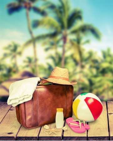 Vacation Suitcases. Stock Photo
