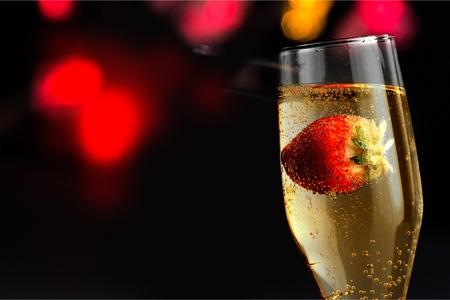 champagne glasses: Strawberry Champagne.