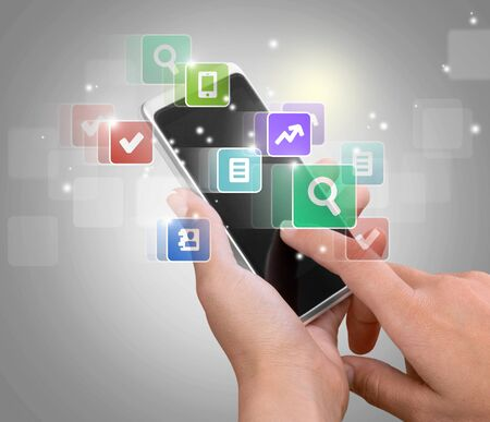 personal data assistant: Smart Phone Apps. Stock Photo