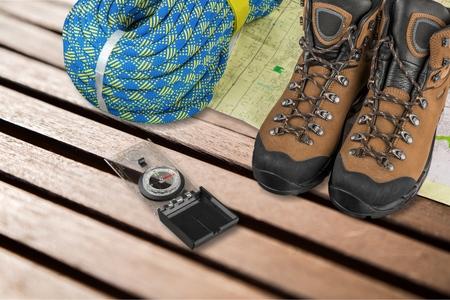 orienteering: Hiking Equipment  Camping. Stock Photo