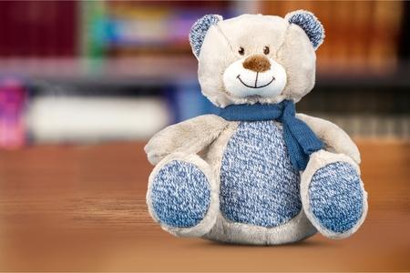 toy bear: Blue toy.