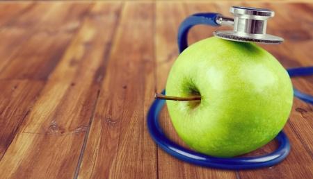 food photography: Apple Stethoscope. Stock Photo
