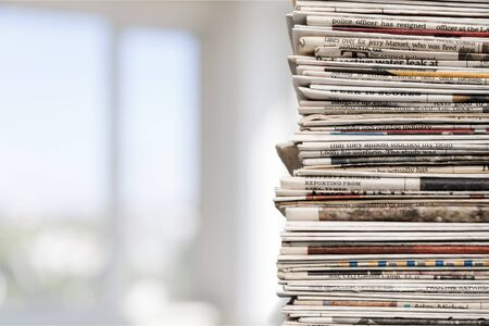 newspaper stack: Newspaper Stack. Stock Photo