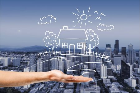 home loan: Life dream. Stock Photo
