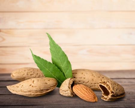 descriptive color: Almond Nuts. Stock Photo