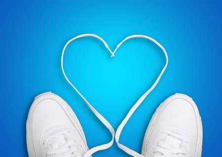 shoe laces: Heart Shape by Shoe Laces. Stock Photo