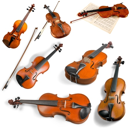 violas: Violas and Violins. Stock Photo