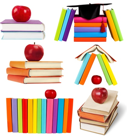 assignments: Books and Apples. Stock Photo