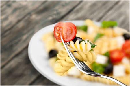 diet dinner: Pasta Salad. Stock Photo