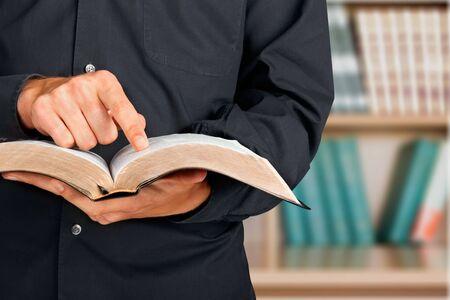 predicador: Predicador Biblia. Foto de archivo