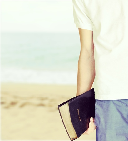 worshipper: Teenager with Bible.