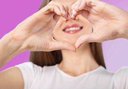 heart in hand: Hand heart. Stock Photo