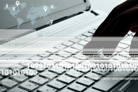 using computer: Using Computer. Stock Photo