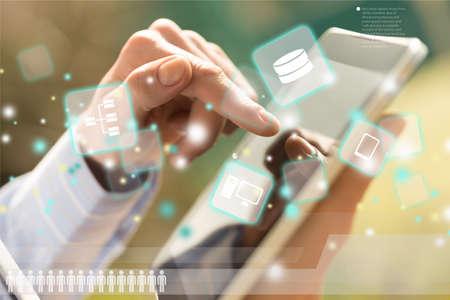 通信: Business tablet. 写真素材