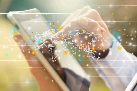 communicatie: Zakelijke tablet. Stockfoto