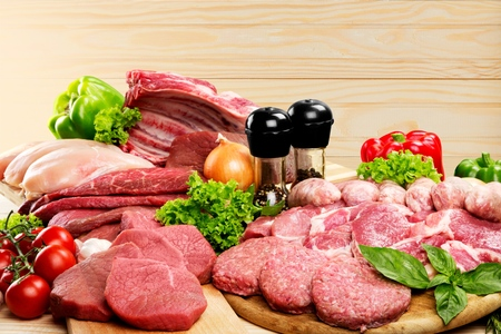butcher's shop: Raw Meat. Stock Photo