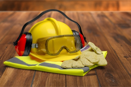 safety hat: Protective Workwear. Stock Photo