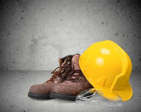 protective work wear: Hardhat and boots.