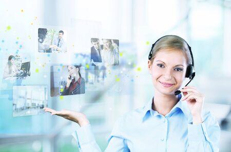secretaria: Centro de llamadas. Foto de archivo