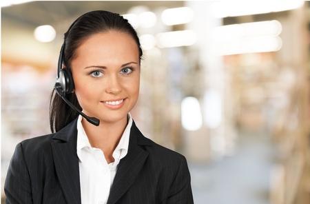 customer service phone: Customer Service Representative. Stock Photo