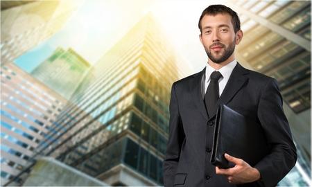 bienes raices: Agente de bienes raíces. Foto de archivo