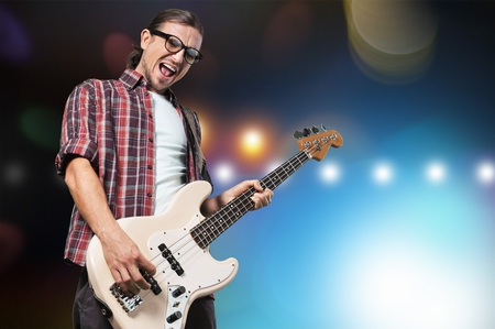 harmonist: Bassist. Stock Photo