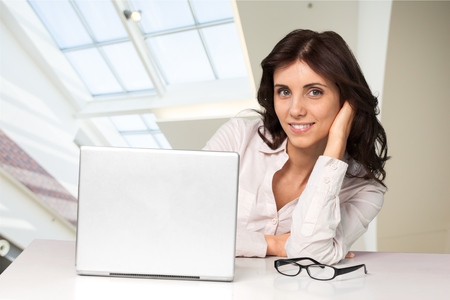 powerbook: Woman using Computer.
