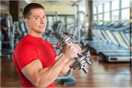 only the biceps: Exercising. Stock Photo