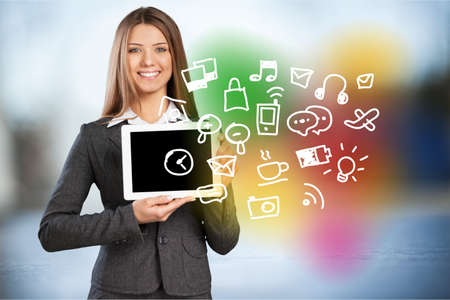 woman tablet: Woman holding Tablet apps. Stock Photo
