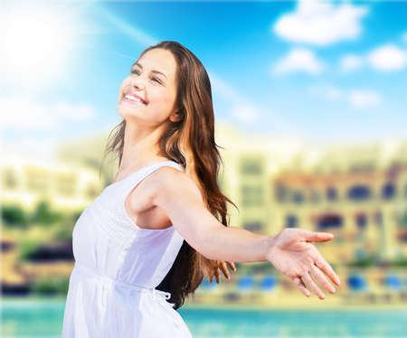 happy smiling: Freedom. Stock Photo